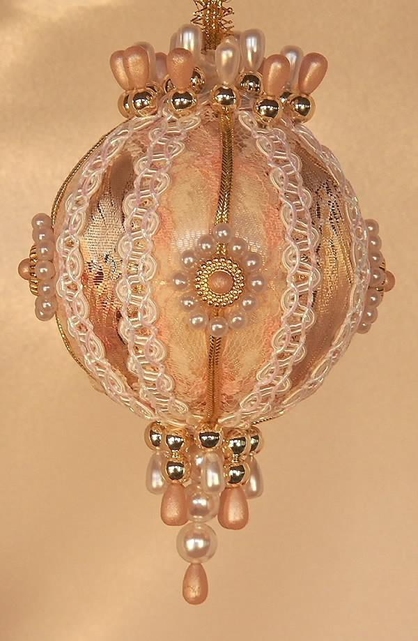 Christmas ornaments victorian peach cream and gold ornament