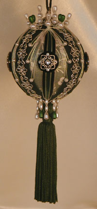 Deep Hunter Green Victorian Christmas Ornament, black inlaid rhinestone button and Swarovski Crystals