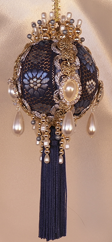 victorian christmas tree ornament in royal blue and gold with rhinestones and pearl teardrops - Royal Blue And Gold Christmas Decorations