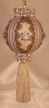 Tassel Ornament Victorian Style Ivory and gold Vintage Trims Christmas Tree Ornament