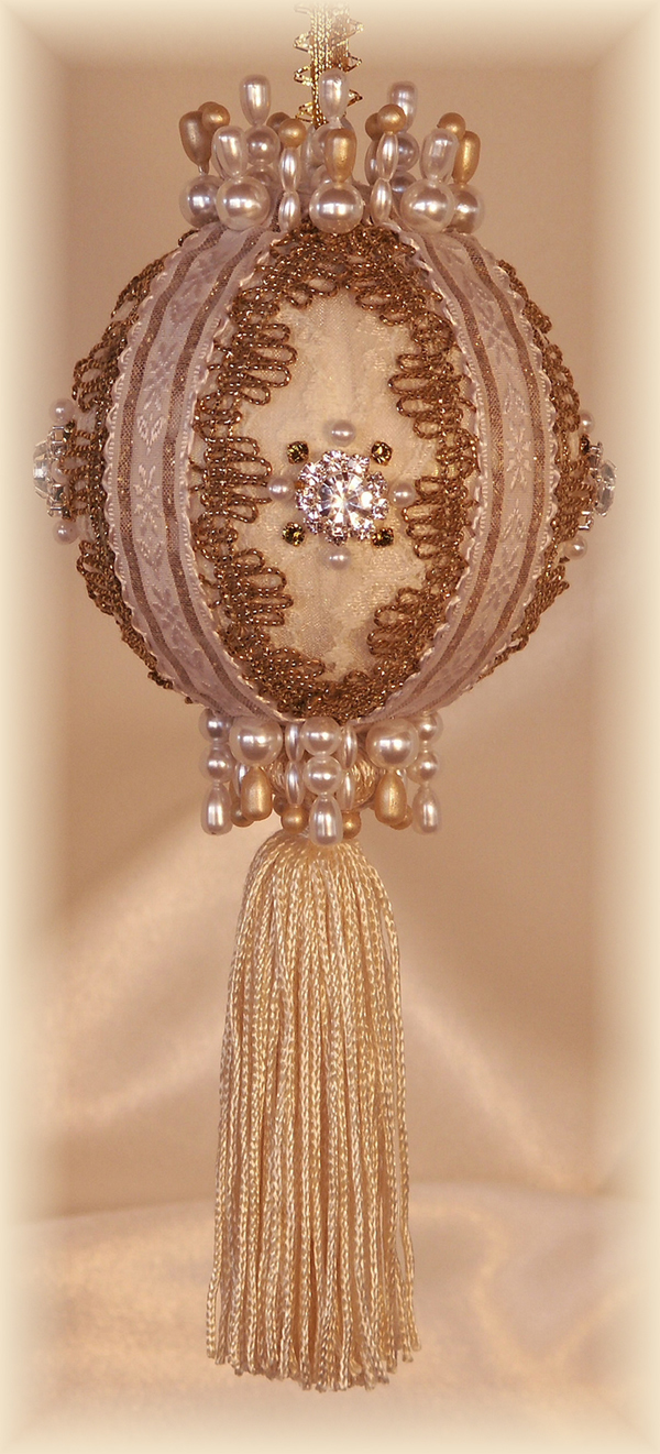 Victorian Ornaments ivory white and gold with tassels and Swarovski Crystals