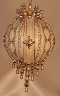 Gold inlaid lace, rhinestones and Swarovski Crystals on this gorgreous Heirloom Ornament