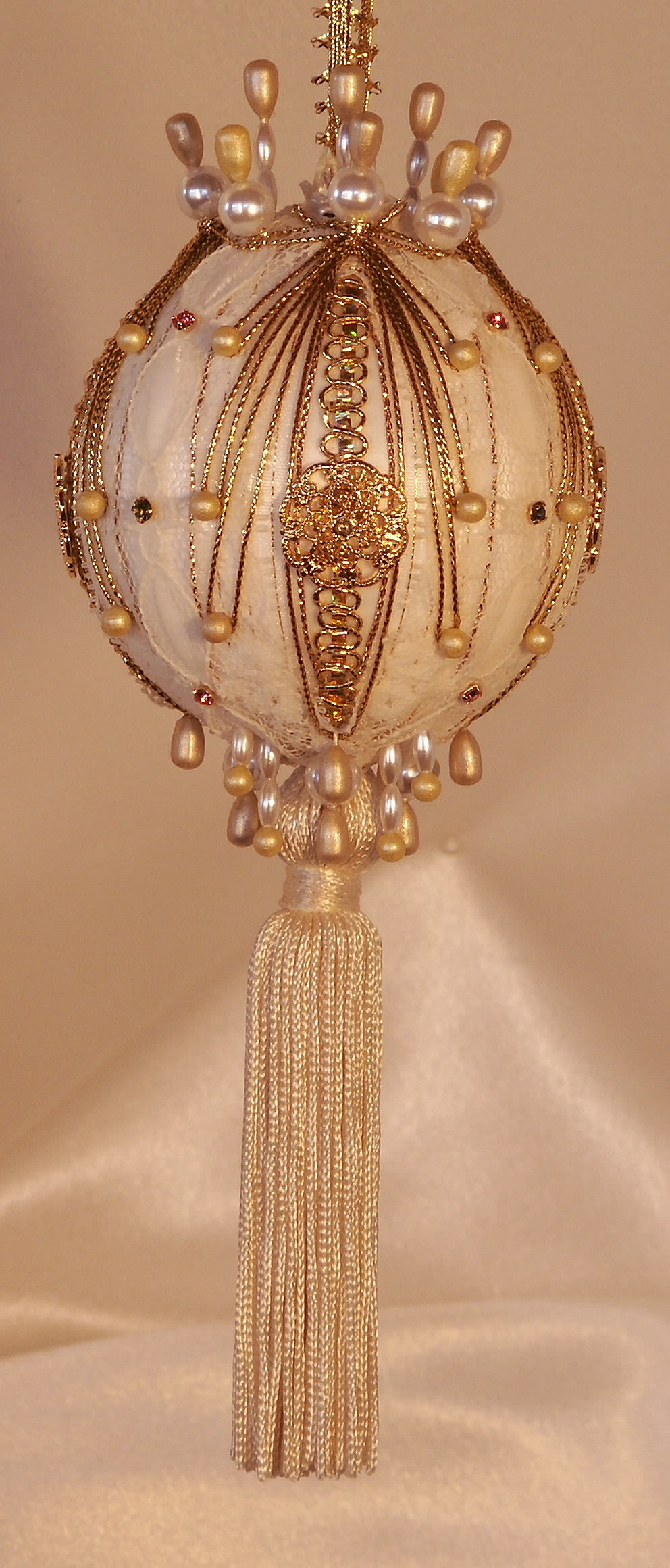 Victorian style christmas tree ornaments - Christmas Ornaments Adella Lee An Ivory Tassel Velvet And Swarovski Crystals On This Collectible Giftable Heirloom Ornament