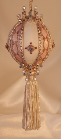 Blush a palest peach adorn this beauty with a gold Swarovski Crystal filigree rosette and two rare and vintage trims, real velvet and more genuine Swarovski Crystals