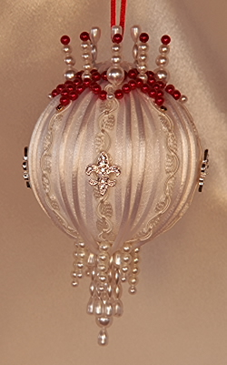 A Victorian Ornament resembling Angelina Jolie's gown worn at the Golden Globes in 2012 Pure Ivory and red