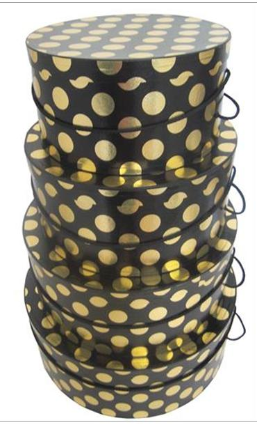 Gold Metallic Dot set of 4 hatboxes