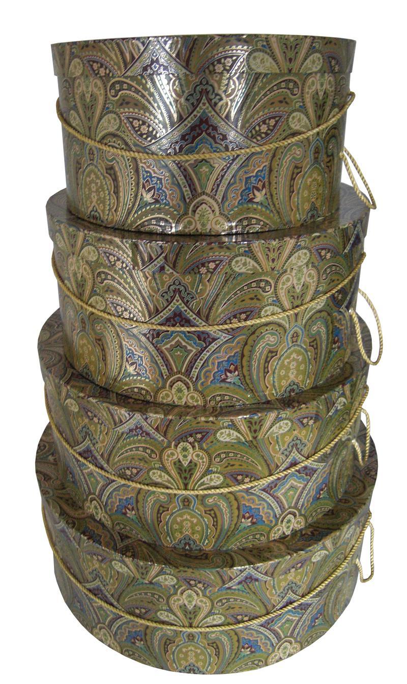 Golden Paisley set of 4 hatboxes