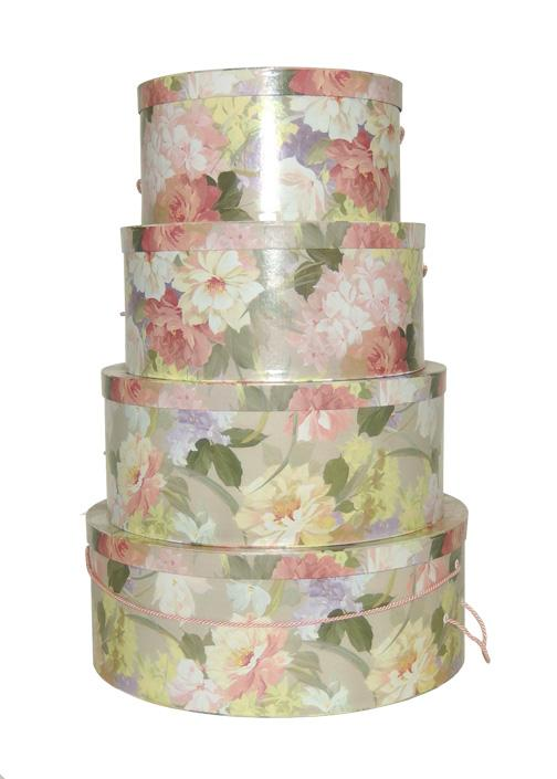 Artist's Floral Pastels Pinks and Spring Greens on this Beautiful Set of Nested Hatboxes