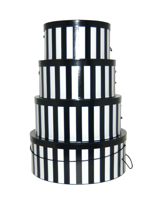Black and White Verticle Striped Hatboxes, includes an extra large, large, medium and small hat box
