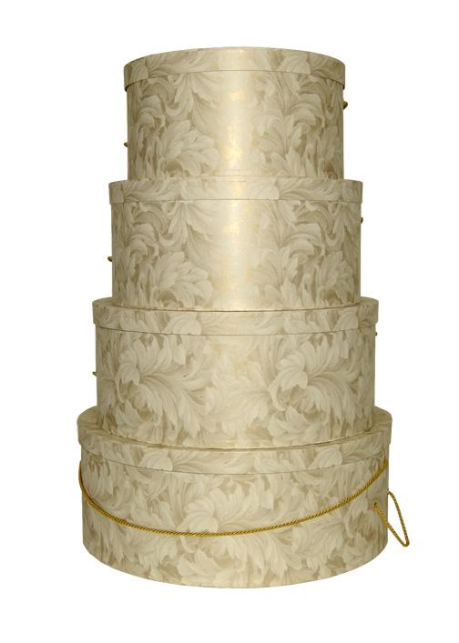 Ivory and Gold patterned hatboxes nested set of four sizes extra large, large, medium and small
