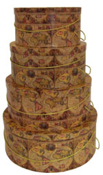 A design of old world map on this beautiful set of hatboxes