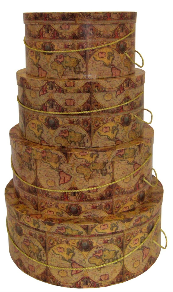 World Map Design on this nested set of four gorgeous hatboxes