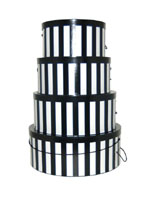 A nested set of hatboxes in pretty Black and White Verticle Stripes, our most popular design!