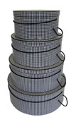 Black and White Houndstooth set of four gorgeous hatboxes, extra heavy block construction, perfect for all your hatbox needs