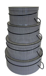 Houndstooth Hatboxes Black and White Houndstooth Pattern on this beautiful set of hat boxes