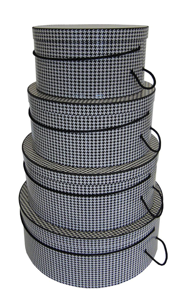 Houndstooth Pattern in Classic Black and white, set of four beautifully constructed hatboxes nest set or single sizes available