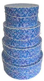 Blue Florentine Pattern on a set of 4 nested hat boxes