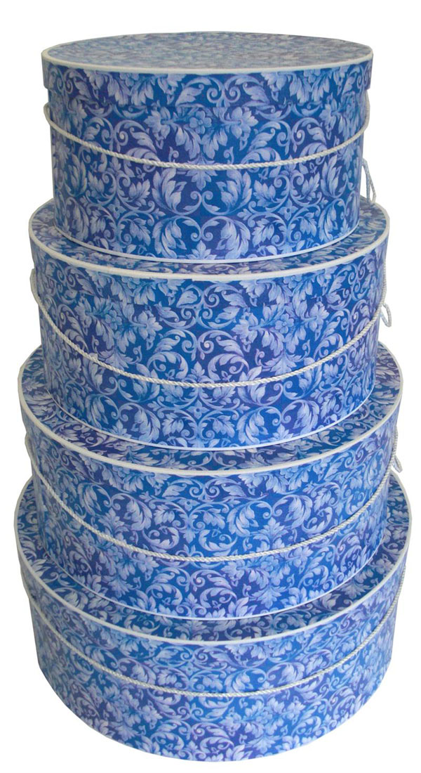 A pretty shade of blue in a Victorian Florentine pattern make this set of hatboxes a great gift