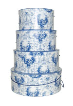 Blue toile hatboxes classic Victorian style design