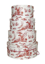 Victorian Toile Design in Red on this set of hatboxes