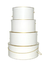 White with Gold Trim hat boxes are perfect for weddings and anniversarys