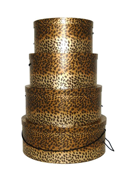 Set of four gorgeous hatboxes in Metallic Leopard pattern, great for decorative storage, hat boxes to purchase individually or in sets