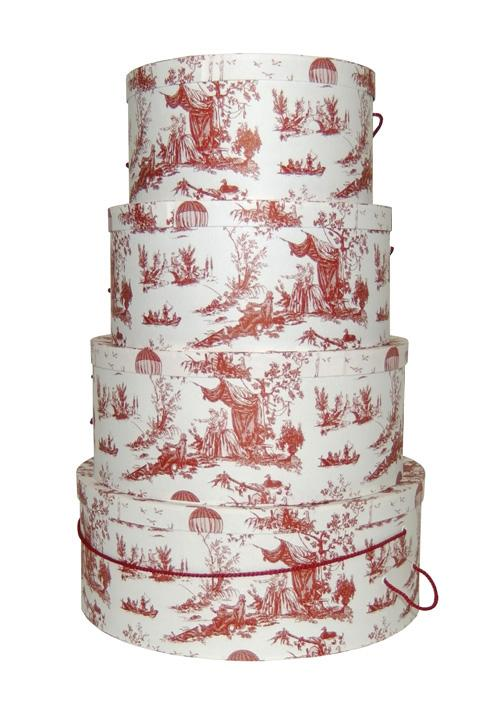 Red Toile set of four nested hat boxes