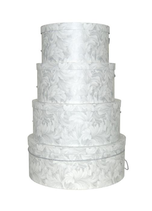 Silver Anniversay gift or centerpiece, this set of silver on white scroll hat boxes is perfect