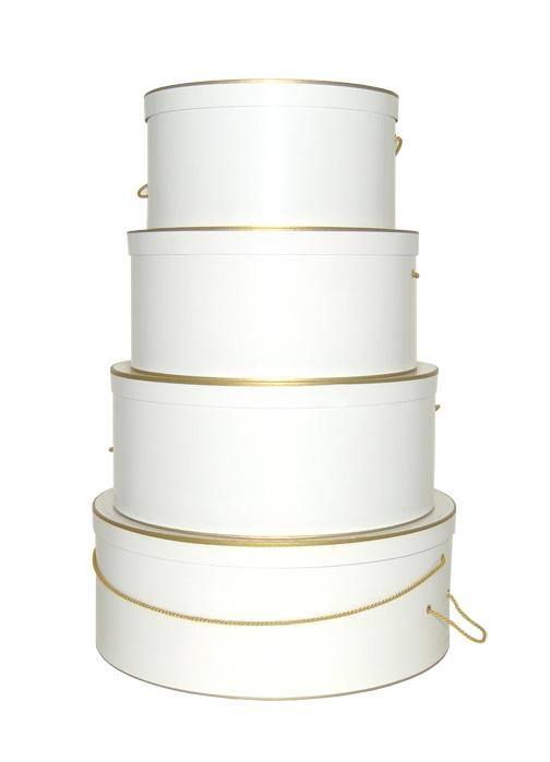 White with Gold Trim hatboxes, perfect for weddings, decorative and versatile purchase in sets or individually extra large size hat box, large, medium, or small hat box
