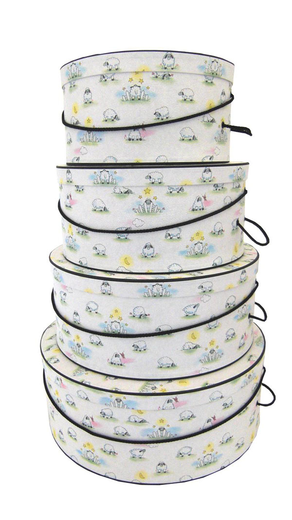 Great for Baby's room, a set of hatboxes to store Baby's needs in a Sweet Counting Sheep Design
