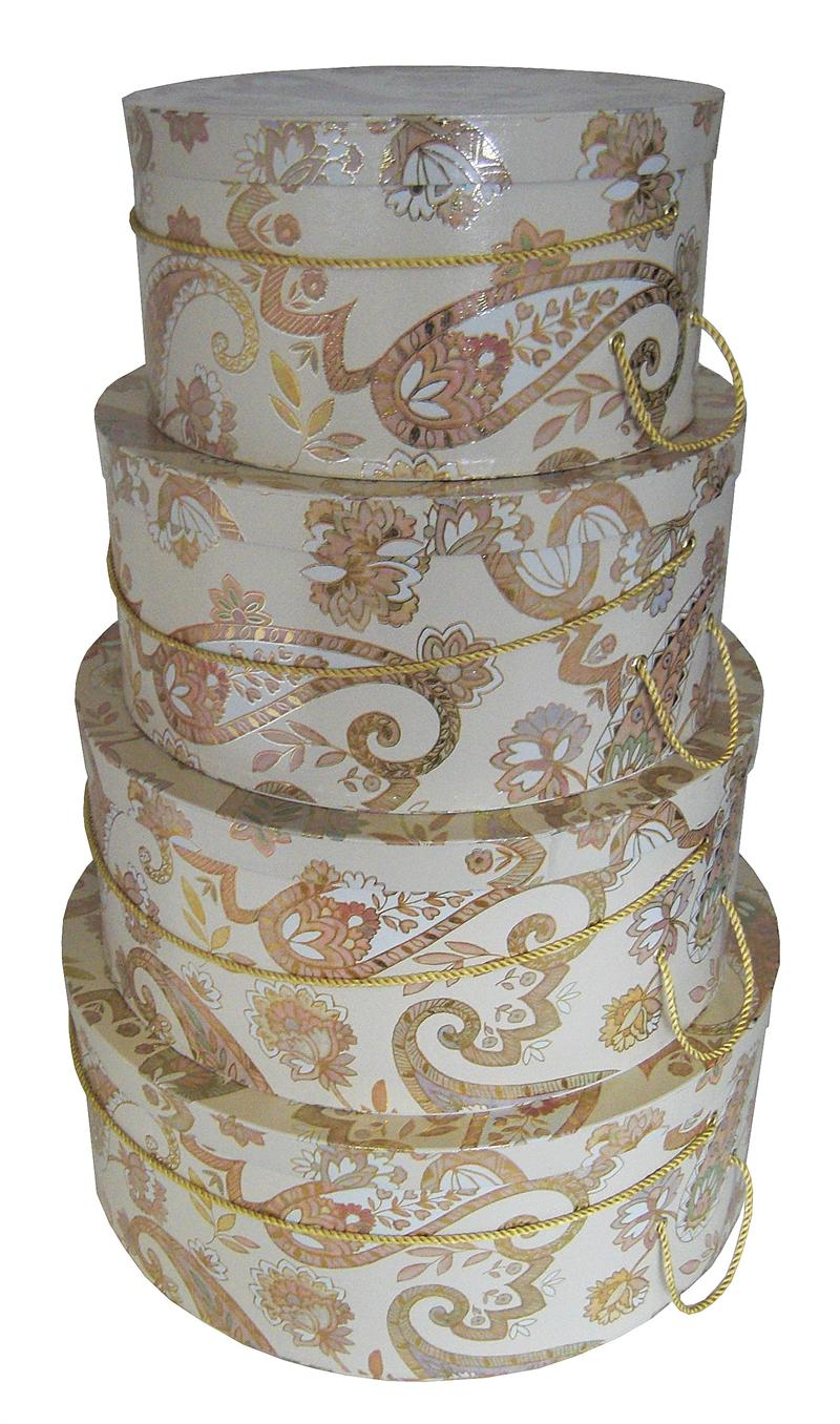 Multi colored Paisley design set of 4 gorgeous hatboxes