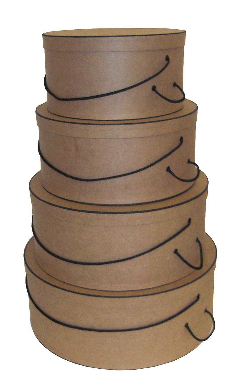 Natural Kraft with Black Trim set of four Hatboxes
