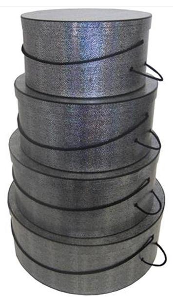 Silvery textured hatbox set