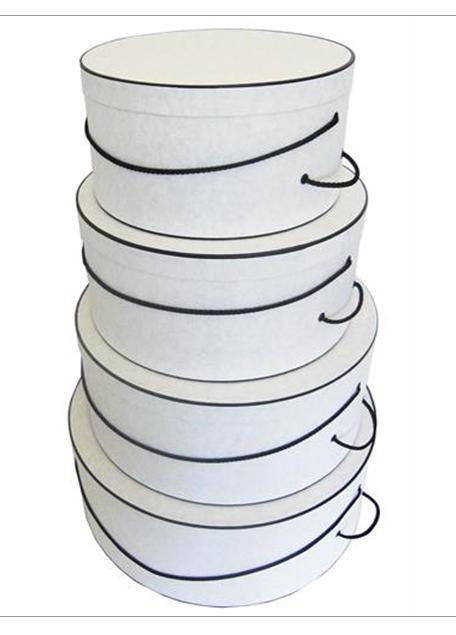White Crepe hatbox set