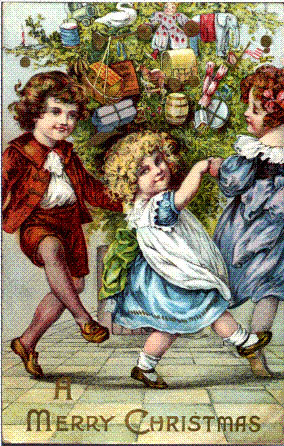Vintage Art Children Dancing Around Christmas Tree