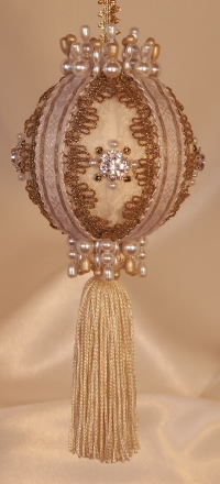Antique ornament for your Heirloom collection, beautiful lush tassel and Swarovski Crytals